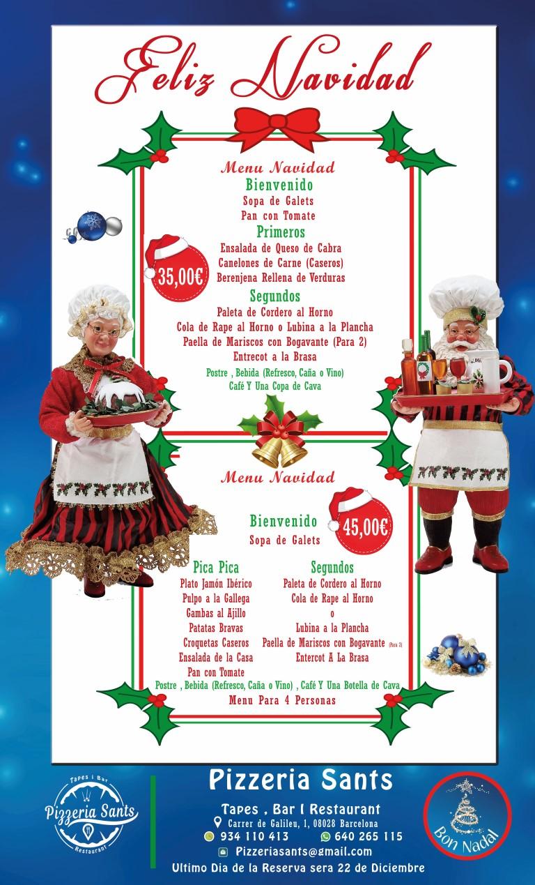 Postres Para Una Feliz Navidad.Menu Del Navidad Pizzeria Sants